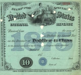 1875 $10 Cigar Alcohol Peddler 4 Irs Tax Stamp License photo