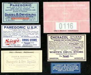 Marijuana Opium Morphine Paregoric Narcotic Drug Store Label Tennessee Tax Stamp photo