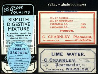 Antique Opium Laudanum Narcotic & Bottle Label Charney Pharmacy Wilmslow England photo