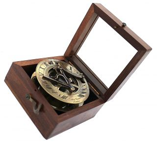 Brass Sundial Compass - Pocket Sundial In Wooden Box photo