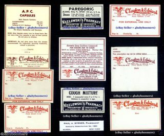 11 Opium Narcotics & Antique Rx Medicine Bottles Labels photo