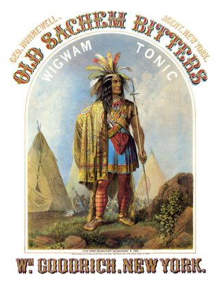 Old Sachem Bitters Wigwam Tonic Medicine Indian Poster photo