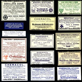 15 Opium Pharmacy Drug Store Narcotics Bottle Label ~l5 photo