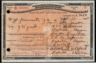 Sept 12 1925 ~fred Janson~ Prohibition Rx Prescription Label Lot Duluth Nopeming photo