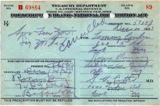 1923 Prohibition Liquor Prescription Buffalo Ny + Label photo