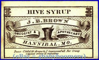 2 1860s Jb Browns Drug Store Hive Syrup Medicine Labels photo