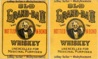 2 Types Of Old Grand Dad Prohibition Whiskey Bottle 2.  25 Inch By 1.  75 Inch Label photo