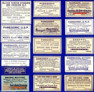 16 Narcotics Opium Drug Store Rx Medicine Bottle Labels photo