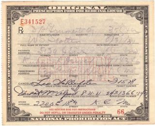 1931 ~prohibition Liquor Prescription~ Kansas Document Temperance History+ Label photo