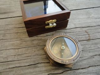 Quality Replica Royal Navy Large Brass Pocket Compass In Teak Display Box photo