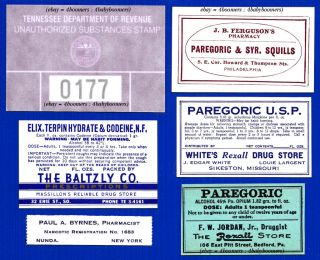 Marijuana Morphine Opium Paregoric Narcotics Pharmacy Labels~tennessee Tax Stamp photo