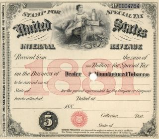 1881 Dealer Manufactured Tobacco Usa Stamp Tax License photo