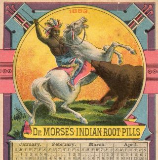 1883 Dr.  Morse ' S Indian Root Pills Calendar Comstock ' S Worm Pellets Trade Card photo