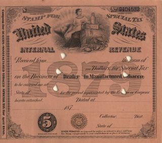 1879 $5 Tobacco Dealer History Cigar Tax Stamp Document photo