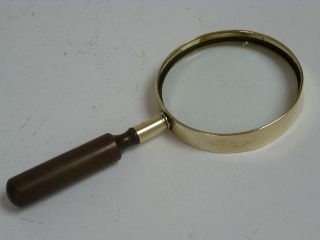 Victorian Brass Mounted Magnifying Glass With Turned Wood Handle Circa 1900 photo