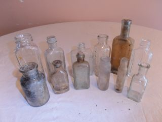 12 Antique Pre - 1900 & Post - 1900 Assorted Bottles: Some Medicine & Others: photo