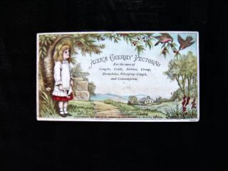 Victorian Trade Card=ayers Cherry Pectoral - Girl Under Tree=quack Medicine Cure photo