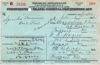 Authentic 1924 Prohibition Rx Prescription+liquor Label photo