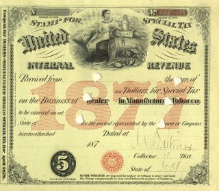 1877 New York Cigar Tobacco Dealer History Special Tax Stamp Document License 1 photo