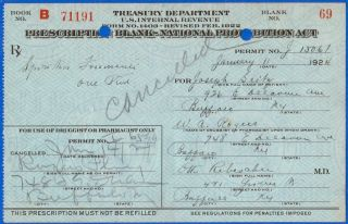 Jan 11 1924 Jan 14 Joseph Seilz Prohibition Prescription & Label Lot Buffalo Ny photo