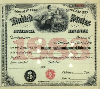 1883 Tobacco $5 Dealer Special Tax Stamp Irs History Cigar Cigarette Document photo