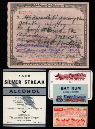 Dec 29 1929 Prohibition Prescription John King Pennsylvania + Rum Pharmacy Label photo