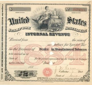 1884 Iowa Dealer Tobacco Jw Green Irs Special Tax Stamp History Document License photo