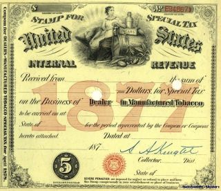 1877 ~signed~ Tobacco Dealer Tax Stamp Document License photo