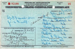 Authentic 1924 Rx Prohibition Prescription+liquor Label photo