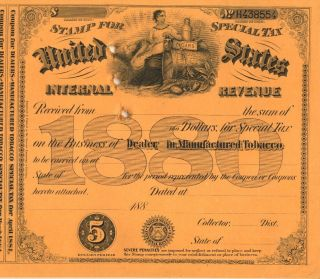 1880 $5 Dealer Cigar Document Stamp Tobacco History Scotch Sts Special Tax Stamp photo