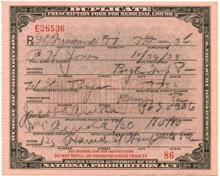 Dec 30 1929 Prohibition Alcohol Prescription + Rum & Pharmacy Drug Store Labels photo