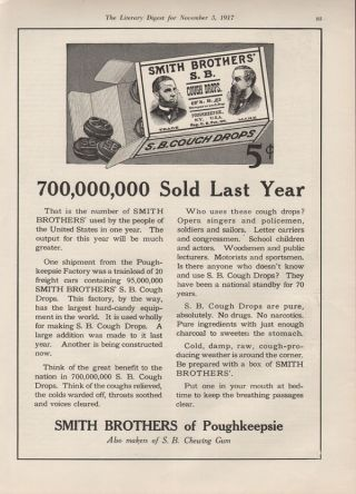 1917 Smith Brothers Cough Drops Medical Health Poughkeepsie Doctor Advertise Ad photo