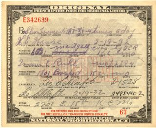 1932 Prohibition Prescription+3 Alcohol Labels photo