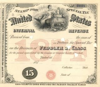 1874 $15 Peddler Sts 3 Cigar Tobacco Alcohol Tax Stamp photo