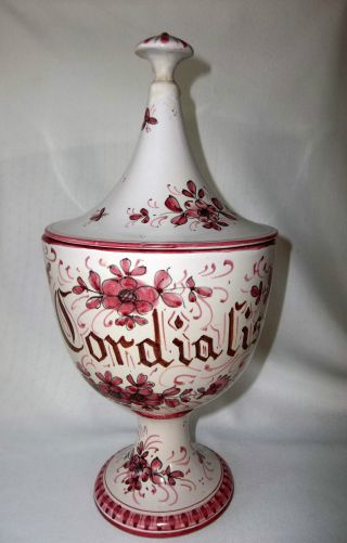Vintage Italian Majolica Apothecary Jar Circus Tent Top Rul Cordialis Signed 13