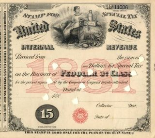 1881 Sts $15 Peddler 3rd Class Liquor Tax Tobacco Stamp photo
