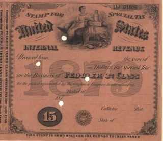 1879 $15 Peddler History 3rd Special Tax Stamp Document photo
