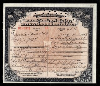 8 - 11 - 1927 Stanley Sumell Prohibition Prescription Pennsylvania Document History photo