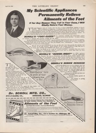 1912 Dr Scholl Foot Eazer Bunion Right Shield Medical Health Feet Foot Care Ad photo