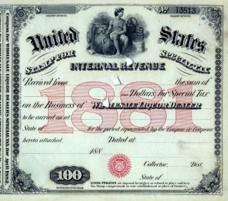 1881 Bar $100 Moonshine Whiskey - Still Usa Document Irs History Special Tax Stamp photo