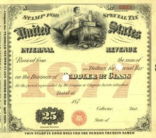 1877 $25 Peddler 2nd Class Tobacco History Tax Document photo