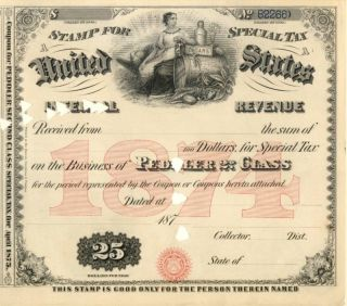 1874 $25 Peddler 2nd Class Tobacco History Tax Document photo