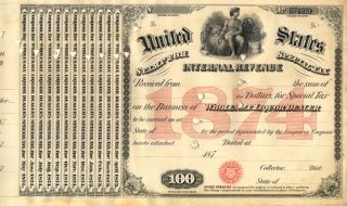 1874 $100 Moonshine Whiskey - Still Bar Document History photo