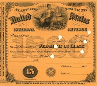 1880 History $15 Peddler 3rd Special Tax Stamp Document photo