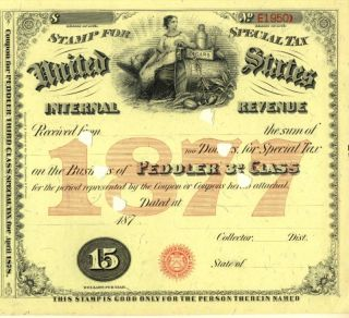1877 Document $15 Peddler 3rd Special Tax Stamp History photo