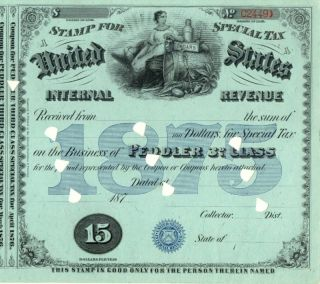 1875 Sts $15 Peddler 3rd Class Liquor Tax Tobacco Stamp photo