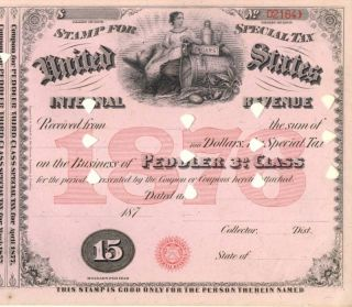 1876 Peddler Sts $15 3rd Class Liquor Tax Tobacco Stamp photo