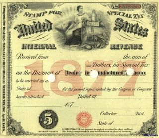 1877 Tobacco Dealer Tax Stamp Document License~ History photo