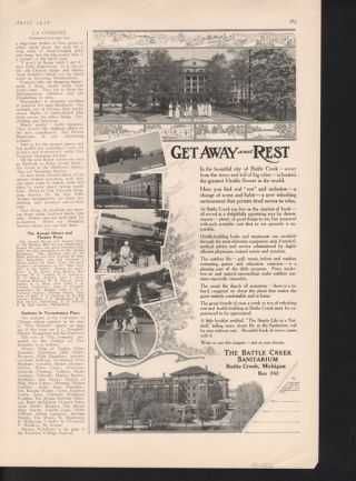 1916 Battle Creek Sanitarium Quack Medic Doctor Kellog Outdoor Sport Vacation photo