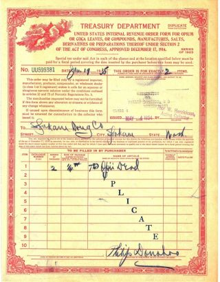 Authentic 1923 Opii Opium Narcotics Order Form Bingen Washington Spokane Drug Co photo